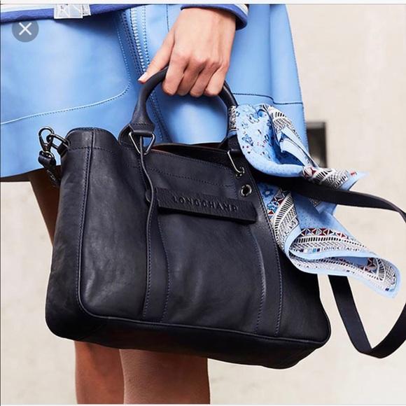 Longchamp Handbags - Longchamp Leather 3D Tote. Crossbody. Navy. Medium e9d5ab12b88ef